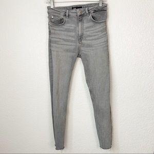 Zara High Waisted Skinny Grey Jeans 8